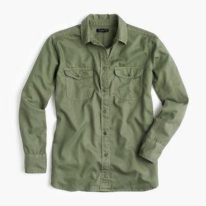 New JCREW Army Green Boyfriend utility shirt